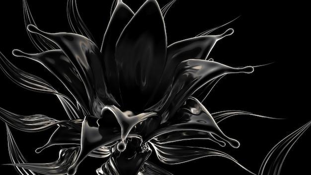Черный фон с всплеск жидкости. 3d иллюстрация