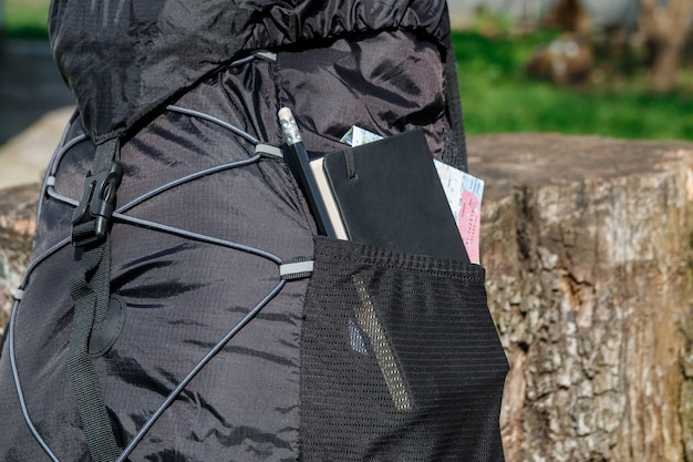 Black backpack with notebook, map and pencil