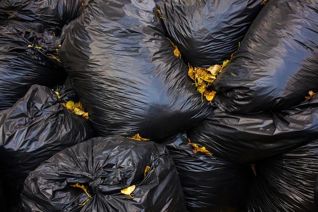 Black bags of garbage.