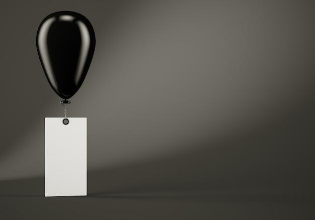 Black balloon with blank banner on dark grey