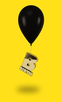 Black balloons with golden birth letters