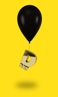 Black balloons with golden day letters