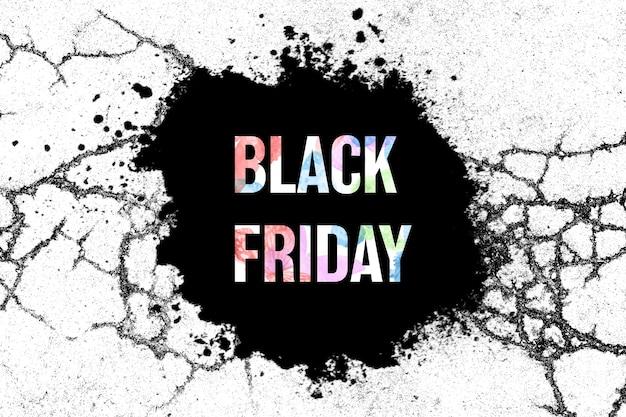 얼룩이 있는 흰색 바탕에 검은색 배너입니다. 검은 금요일. 휴일 판매. 고품질 사진
