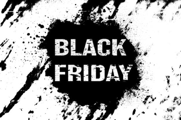 얼룩이 있는 흰색 배경에 검정 배너입니다. 검은 금요일. 휴일 판매. 고품질 사진