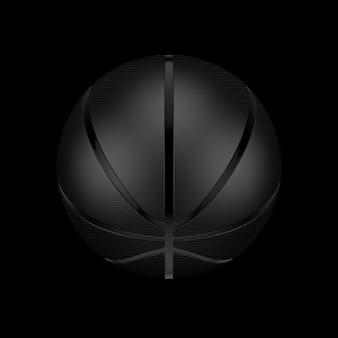 Black basketball ball on a black background. 3d rendering