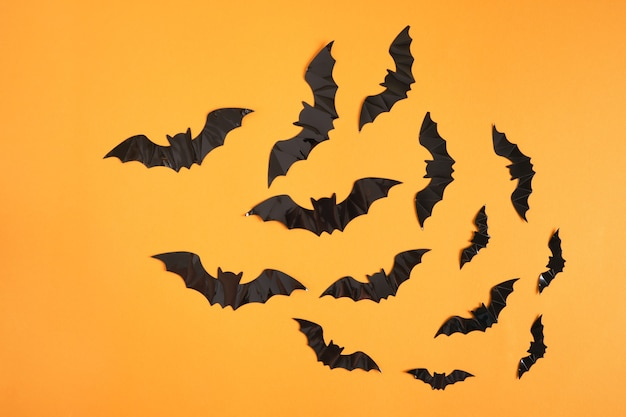 Черные летучие мыши на пустом оранжевом фоне, концепция хэллоуина копией пространства