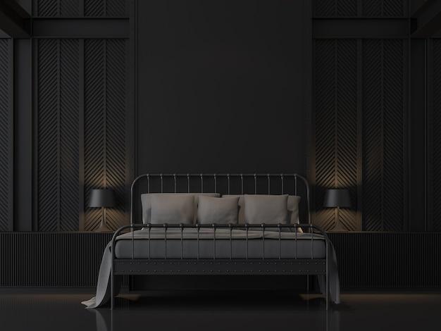 산업용 로프트 스타일의 3d 렌더가 있는 검은색 침실은 강철 패턴으로 벽을 장식합니다.