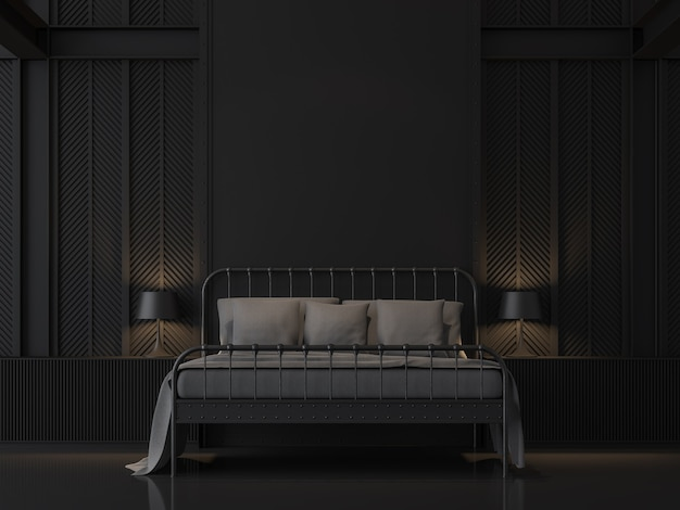 Black bedroom with industrial loft style 3d render decorate wall with pattern of steel