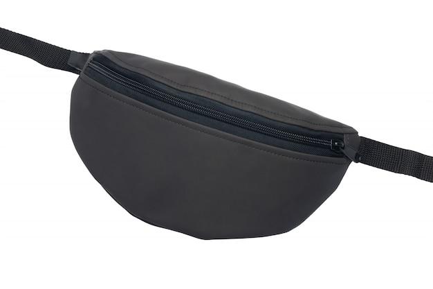 Черная поясная сумка, изолированные на белом фоне.