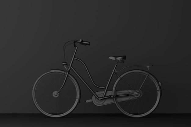 暗い部屋で黒い自転車。 3dレンダリング。