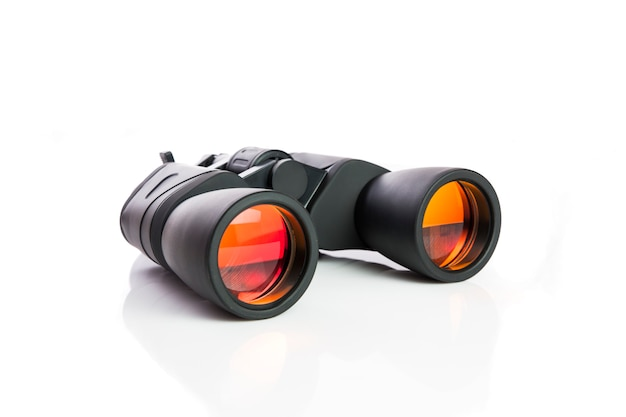 Black binoculars isolated on with white background