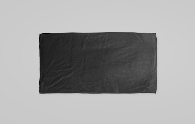Черное черное мягкое пляжное полотенце, макет