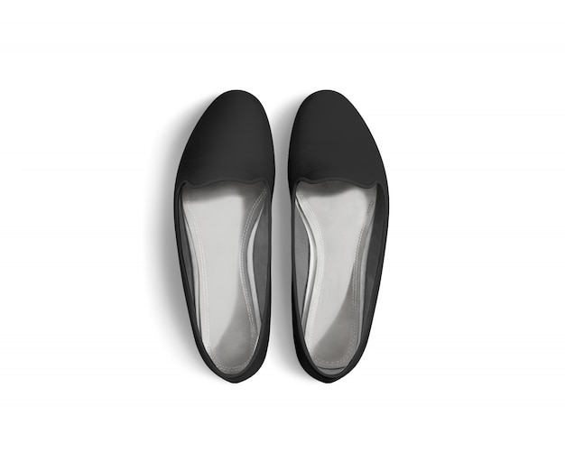 Black blank women shoes  stand isolated, top view