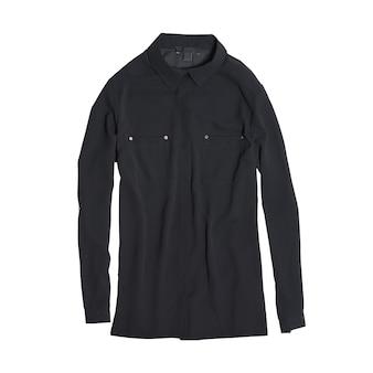 白い背景に分離された黒のブラウス。ファッションのコンセプト。