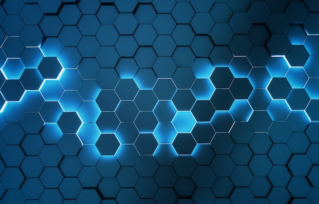 Black blue hexagons background pattern 3d rendering