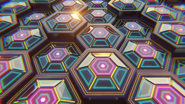 Black blue and orange hexagons background. modern background. 3d illustration.
