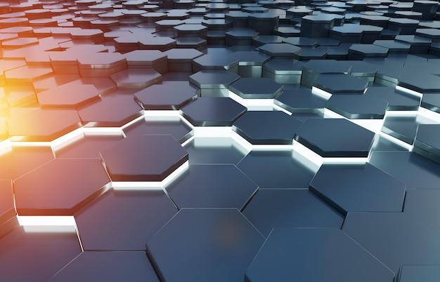 Black blue and orange hexagons background pattern 3d rendering