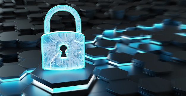 Black and blue padlock icon on hexagons 3d rendering
