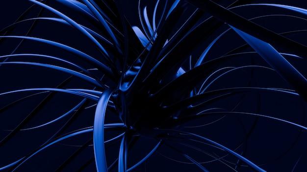 검은 파란색 모양 배경 3d 그림 렌더링