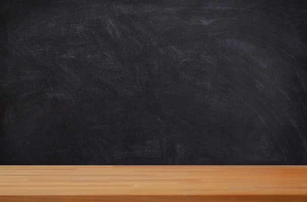 Black board background with wooden board product display
