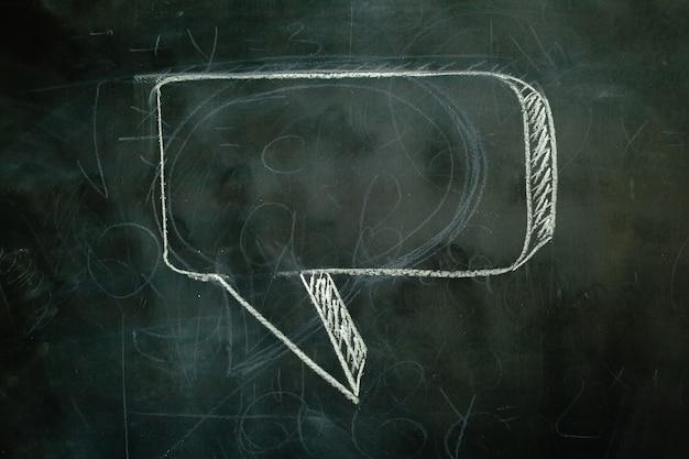 Black board and white chalk speech bubble