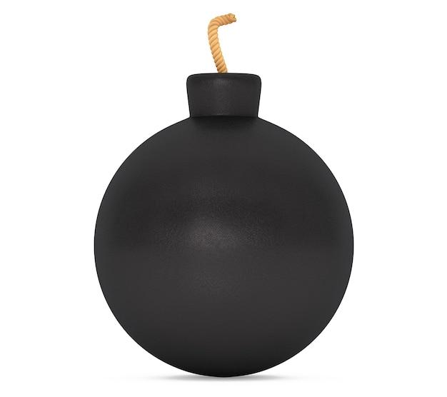 Черная бомба с фитилем на белом фоне. 3d рендеринг Premium Фотографии