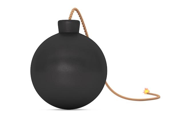Черная бомба с фитилем на белом фоне. 3d рендеринг