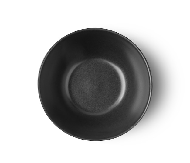 Black bowl isolated on white background top view
