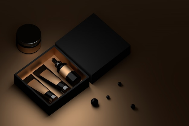 Black box with cosmetic packaging and black perls.