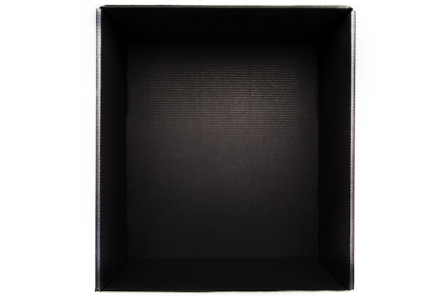 Black box without cover on white, view from the inside