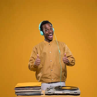 Black boy posing with headphones