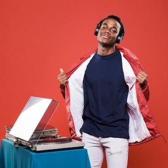Black boy posing with headphones