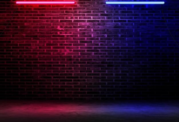 네온 불빛과 빛나는 불빛과 함께 검은 벽돌 벽 배경 거친 콘크리트