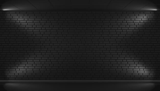 여유 공간이있는 검은 벽돌 벽 배경