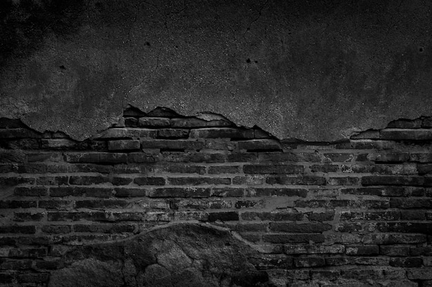 Black brick wall and concrete texture for background.