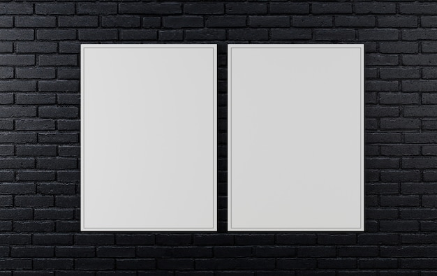Black brick wall, dark background for design, mock up poster on wall, 3d rendering