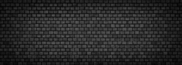 Black brick wall, wide panoramic stone surface texture