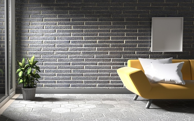 Black brick wall with concrete floor has sofa and plants. 3d rendering