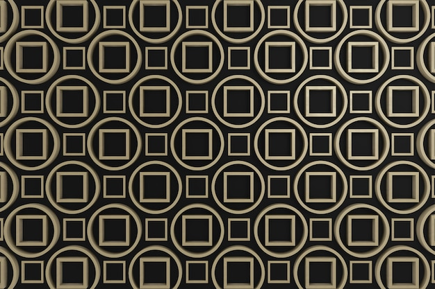 Black and brown circle and square 3d graphic for wall decoration, backdrop, background or wallpaper.