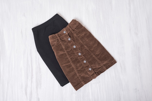 Black and brown skirts. fashion concept