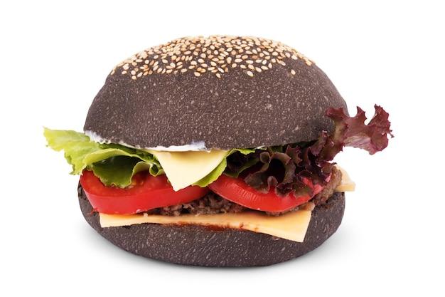 白い背景で隔離の黒いハンバーガー。