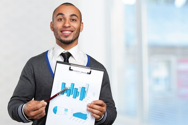 Black business man with clipboard