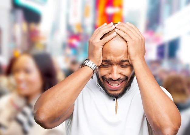 Black businessman sad expression