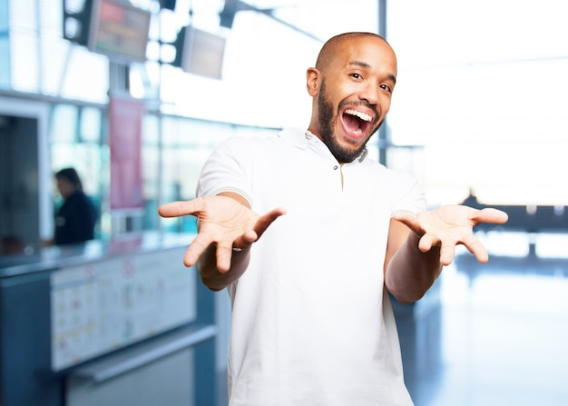 Black businessman surprised expression