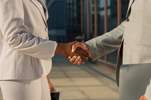 Black businesswoman shaking hands with male partner