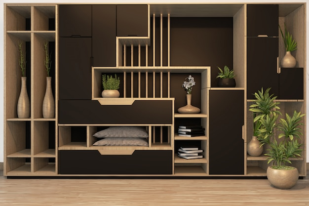 Black cabinet mix wardrobe shelf wooden japanese style and decoration plants on shelf.3d rendering