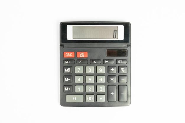Черный калькулятор, изолированные на белом фоне