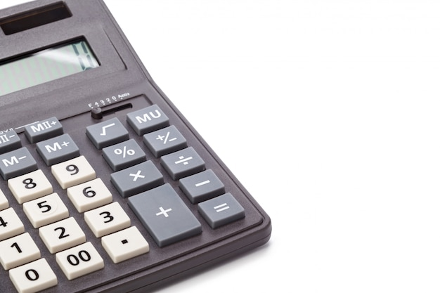 Black calculator isolated on white