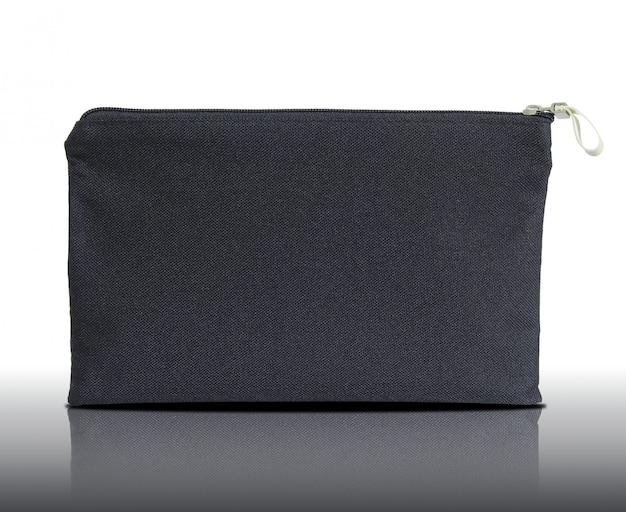 Black canvas shopping bag on white background
