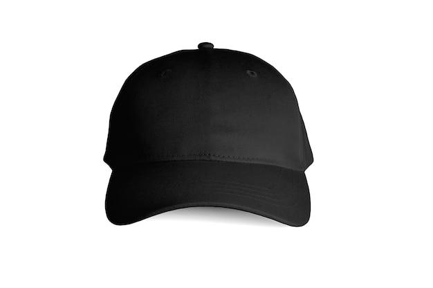 Vista frontale del berretto nero isolata